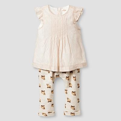 Baby Girls' Stripe Top and Bear Print Leggings Baby Cat & Jack™  - Almond Cream NB