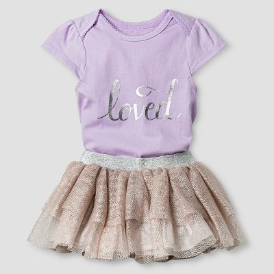 Baby Girls' Loved Bodysuit and Tutu Skirt Baby Cat & Jack™  - Lilac NB