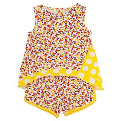 Rare, Too! Baby Girls' Top with Printed Short - Yellow 12M