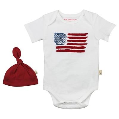 Burt's Bees Baby™ American Flag Bodysuit & Hat - White 6-9M