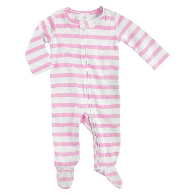 Aden + Anais® Baby Girls' Long-Sleeve Stripe Coverall - Pink/White 3-6M