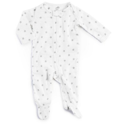 Aden + Anais® Baby Long-Sleeve Star Print Coverall - White/Blue 3-6M