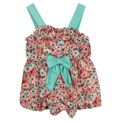 Rare, Too! Baby Girls' Daisies Romper - Coral/Mint 0-3M