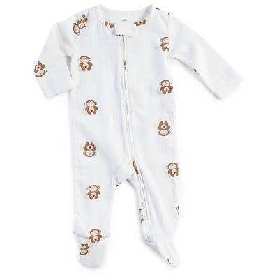 Aden + Anais® Baby Safari Friends Long-Sleeve Monkey Coverall - White/Brown 0-3M