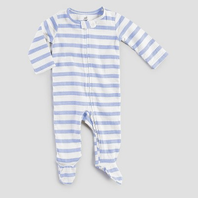 Aden + Anais® Baby Boys' Long-Sleeve Stripe Coverall - Blue/White 0-3M