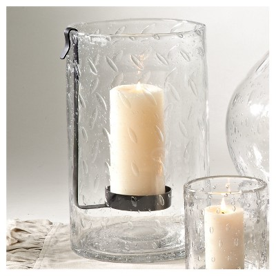 Clear Hurricane Glass Vase - 2 Pc Set