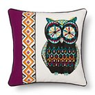 Sparrow Pieced Embroidered Owl  Decorative Pillow (18X18) Multicolored - Mudhut™