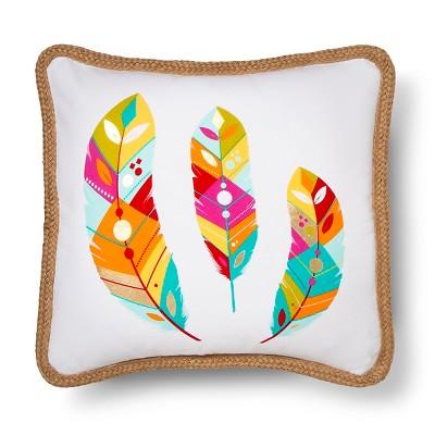 "Bright Adventure Feather Decorative Pillow (18""x18"") Multicolored - Mudhut™"