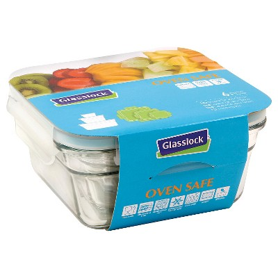 Glasslock 6-Piece Square Glass Food Storage Set