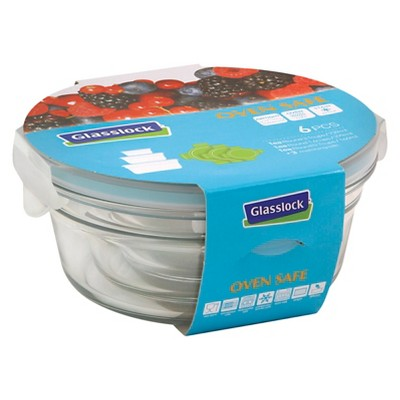 Glasslock  6-Piece Round Glass Food Storage Set