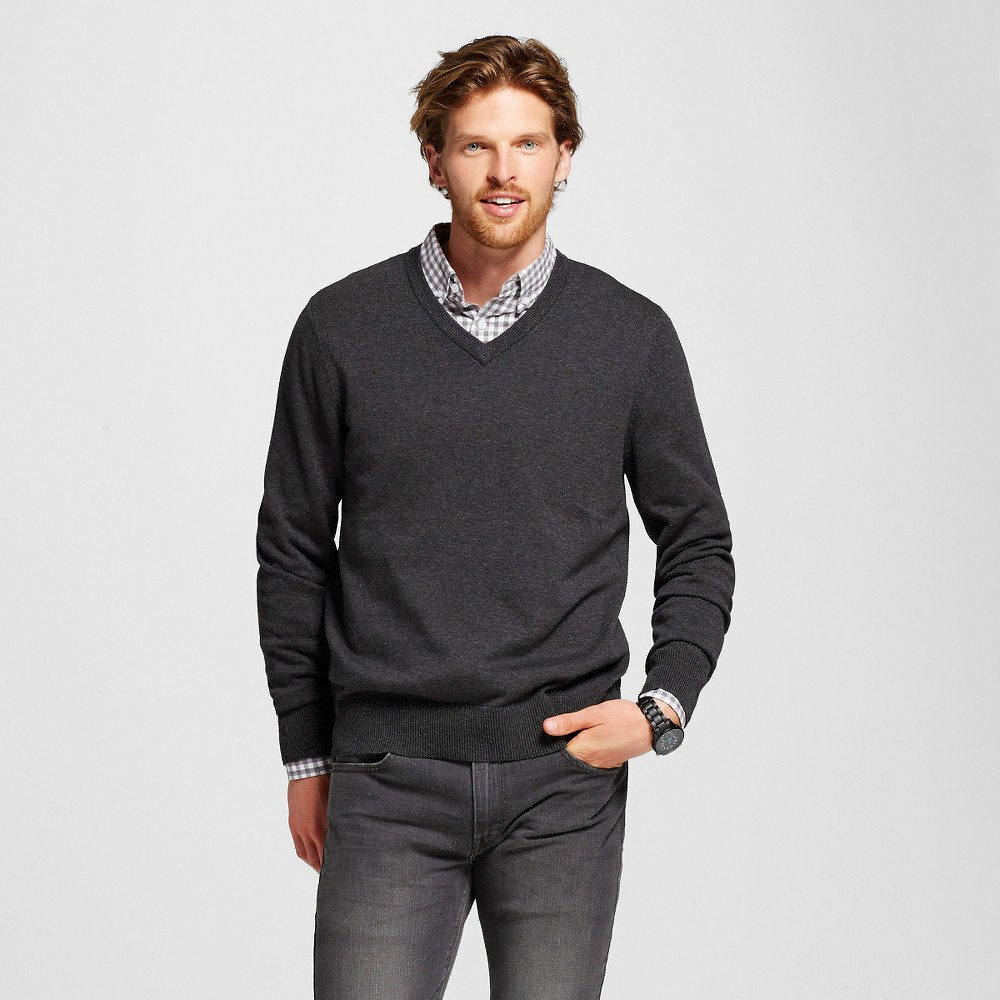Men's V-Neck Sweater Charcoal Grey XL - Merona