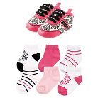 Yoga Sprout Baby Girls' 7 Piece Shoes & Socks Gift Set - Damask 0-6M