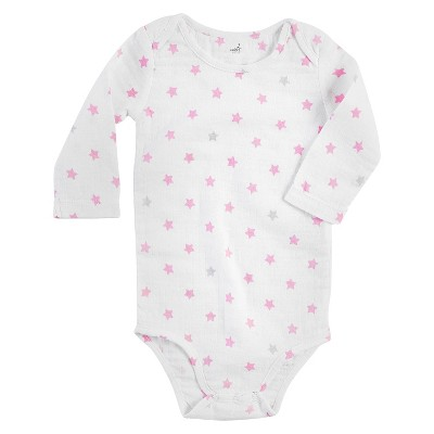 Aden + Anais® Baby Girls' Long-Sleeve Star Print Bodysuit - White/Pink 0-3M