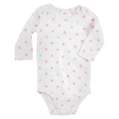 Aden + Anais® Baby Girls' Long-Sleeve Star Print Bodysuit - White/Pink 6-9M