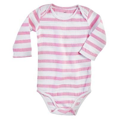 Aden + Anais® Baby Girls' Long-Sleeve Darling Stripe Bodysuit - Pink/White 9-12M