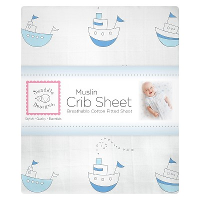 SwaddleDesigns Little Ships Crib Sheet - Pastel Blue