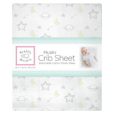 SwaddleDesigns Goodnight Crib Sheet - Sterling