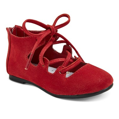 Toddler Girls' Genuine Kids Paula Ghillie Ballet Flats - Red 7