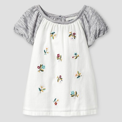 Baby Girls' Floral Knit Woven Blouses - Almond Cream 12M - Genuine Kids™