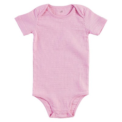 Aden + Anais® Baby Girls' Short-Sleeve Solid Bodysuit - Pink 0-3M