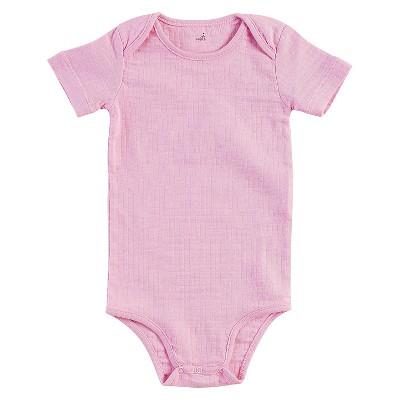 Aden + Anais® Baby Girls' Short-Sleeve Solid Bodysuit - Pink 0-3M
