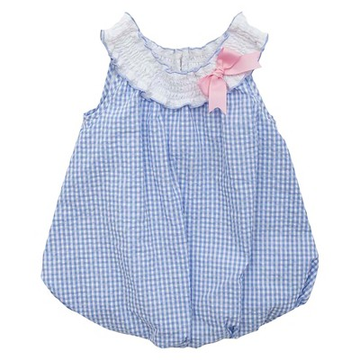 Rare, Too! Baby Girls' Checkered Seersucker Bubble - Periwinkle 3-6M