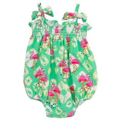 Rare, Too! Baby Girls' Flamingo Bubble - Mint/Pink 0-3M
