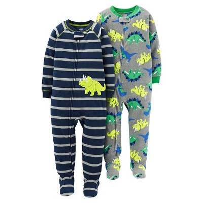 Just One You™Made by Carter's® Boys' 2 Pack Dino Stripe Blanket Fleece Footed Sleepers 12M