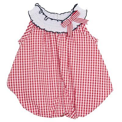 Rare, Too! Baby Girls' Checkered Seersucker Bubble - Red/White 0-3M