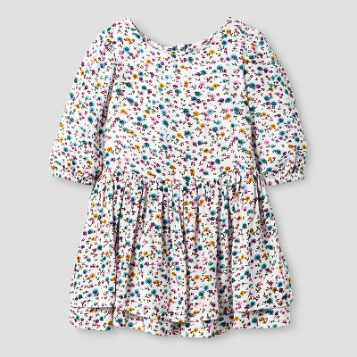 Baby Girls' A Line Floral Print Dress Cream 12M - Genuine Kids from Oshkosh™