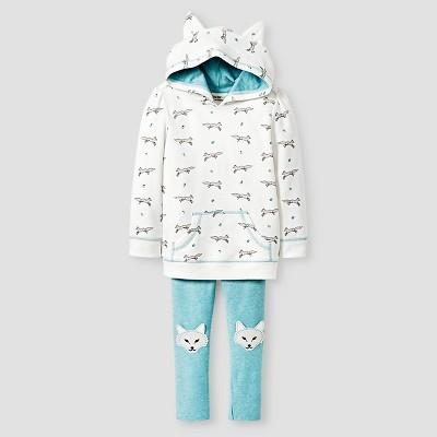 Toddler Girls' Wolf Set Hoodie & Wolf Set Legging Cream/Wolf Print/Aqua - 4T - Genuine Kids from Oshkosh™