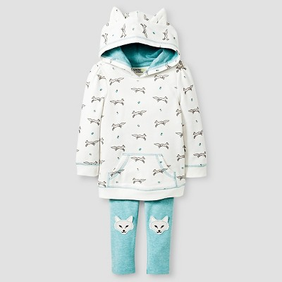 Baby Girls' Wolf Set Hoodie & Wolf Set Legging Cream/Wolf Print/Aqua - 18M - Genuine Kids from Oshkosh™