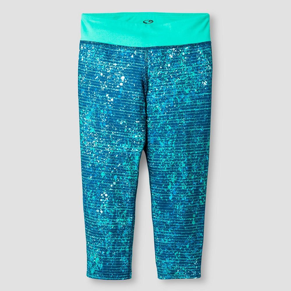 Girls' Printed Performance Yoga Capri Aqua (Blue) S - C9 Champion, Girl's, Size: Small