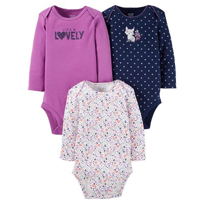 Baby Girls' 3 Pack Long Sleeve Fox Bodysuit Set Plum 3M - Just One You™Made by Carter's®