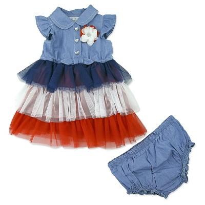 Baby Grand Signature Baby Girls' Chambray Americana Dress - Blue 3-6M