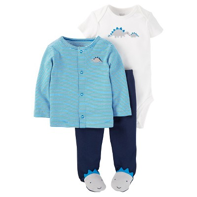 Baby Boys' 3 Piece Striped Dino Cardigan Set 3M - Just One You™Made by Carter's®
