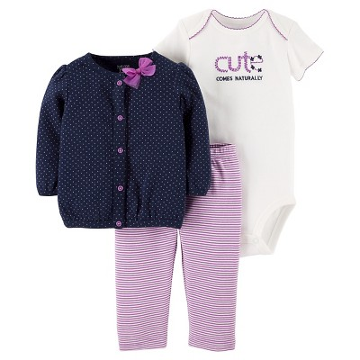Baby Girls' Purple Dot Cardigan Set NB - Just One You™Made by Carter's®