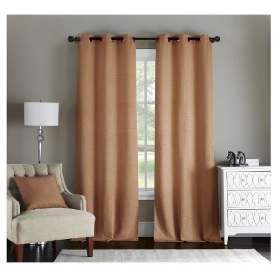 Paxton Solid Jacquard Curtain Panel Pair - Spice (38x84)
