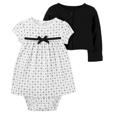 Baby Girls' 2 Piece Dress Set Black Dot NB - Just One You™Made by Carter's®
