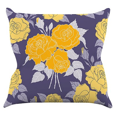 "KESS Anneline Sophia ""Summer Rose Yellow"" Throw Pillow - Purple/Yellow (16"" x 16"")"