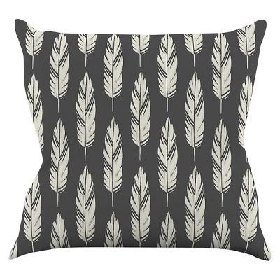 "KESS Amanda Lane ""Feathers Black Cream"" Throw Pillow - Gray (16"" x 16"")"