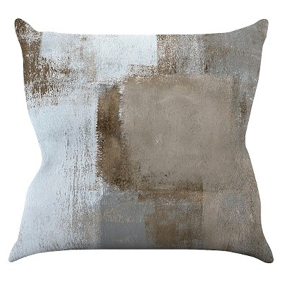 "KESS CarolLynn Tice ""Calm and Neutral"" Throw Pillow - Brown/Gray (16"" x 16"")"
