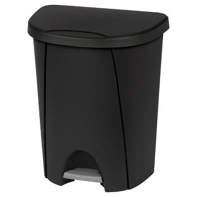 Sterilite 6.6 Gallon Stepson Wastebasket - Black and Titanium