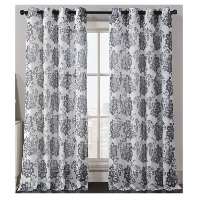 Amore Print Curtain Panel - Gray (54x84)