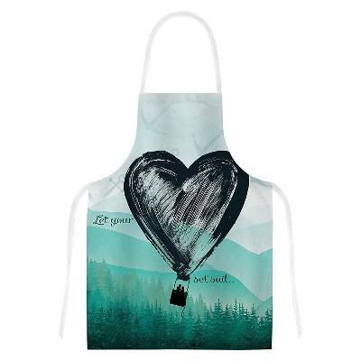"KESS Apron Nick Atkinson ""Heart Set Sail"" - Teal/Black (31"" x 36"")"