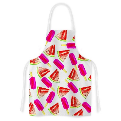 "KESS Apron Sreetama Ray ""Strawberry & Watermelon"" - Pink Red (31"" x 36"")"