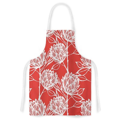 "KESS Apron Gill Eggleston ""Protea Strawberry White"" - Red (31"" x 36"")"