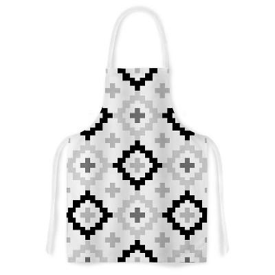 "KESS Apron Pellerina Design ""Black White Moroccan"" - Gray/White (31"" x 36"")"