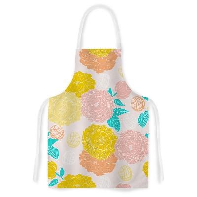 "KESS Apron Anneline Sophia ""Peonies Peach"" - Pink/Yellow (31"" x 36"")"