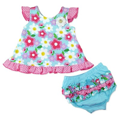 Baby Grand Signature Baby Girls' Top & Diaper Cover Set - Blue 3-6M